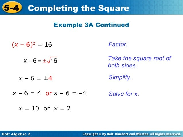 Algebra 2 Completing The Square Worksheet