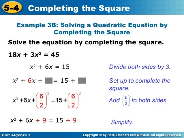Completing the square 20 5 4 completing the square ccuart Image collections