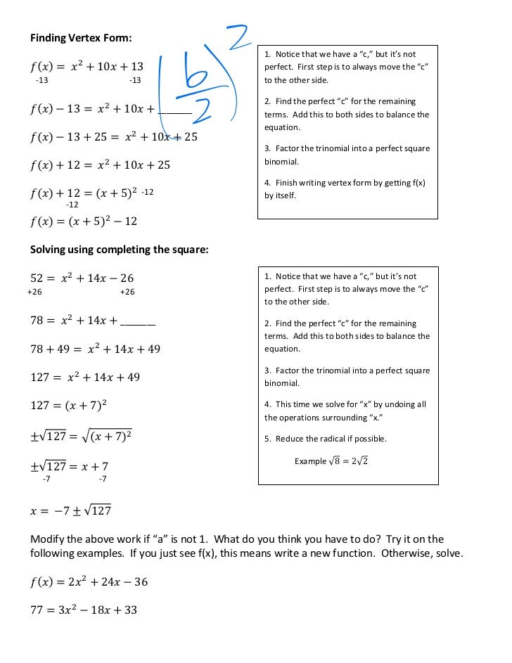 Completing the square class notes 2 finding vertex form ccuart Choice Image