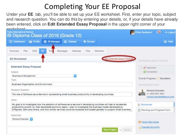 Completing Your EE Proposal Under your EE tab, you'll be able to set up your EE worksheet. First, enter your topic, subjec...