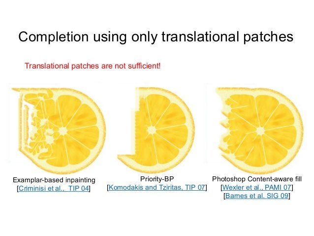 Completion using only translational patches   Translational patches are not sufficient!Examplar-based inpainting          ...