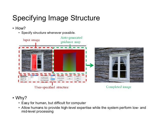 Specifying Image Structure• How?   • Specify structure whenever possible.• Why?   • Easy for human, but difficult for ...