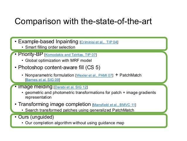 Comparison with the-state-of-the-art• Example-based Inpainting [Criminisi et al.,       TIP 04]    • Smart filling order...