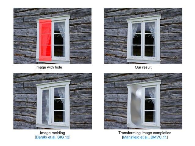 Image with hole                   Our result   Image melding         Transforming image completion[Darabi et al. SIG 12]  ...