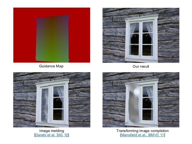 Guidance Map                    Our result   Image melding         Transforming image completion[Darabi et al. SIG 12]    ...
