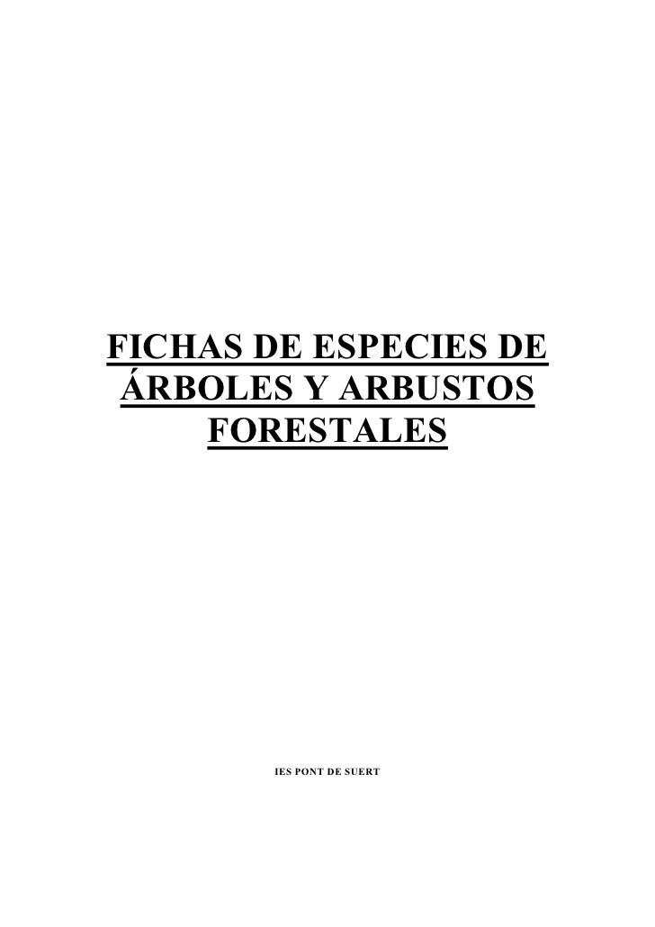 FICHAS DE ESPECIES DE  ÁRBOLES Y ARBUSTOS     FORESTALES            IES PONT DE SUERT