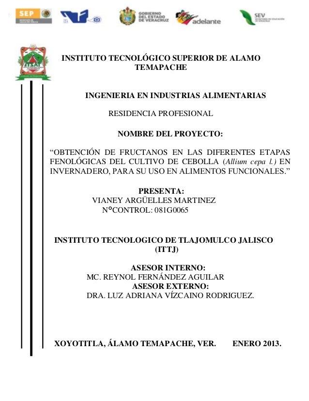 INSTITUTO TECNOLÓGICO SUPERIOR DE ALAMO TEMAPACHE  INGENIERIA EN INDUSTRIAS ALIMENTARIAS RESIDENCIA PROFESIONAL NOMBRE DEL...