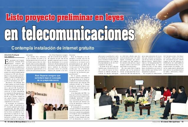 Listo proyecto preliminar en leyes  en telecomunicaciones Contempla instalación de internet gratuito Alma Delia Rodríguez ...