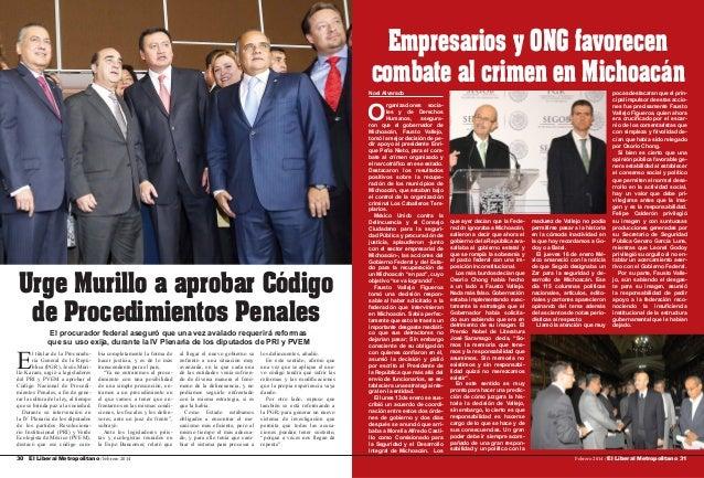 Empresarios y ONG favorecen combate al crimen en Michoacán Noel Alvarado  O  Urge Murillo a aprobar Código de Procedimient...