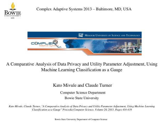 Complex Adaptive Systems 2013 – Baltimore, MD, USA  A Comparative Analysis of Data Privacy and Utility Parameter Adjustmen...