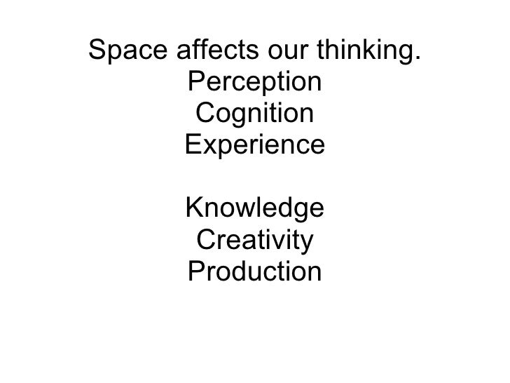 Space affects our thinking. Perception Cognition Experience Knowledge Creativity Production