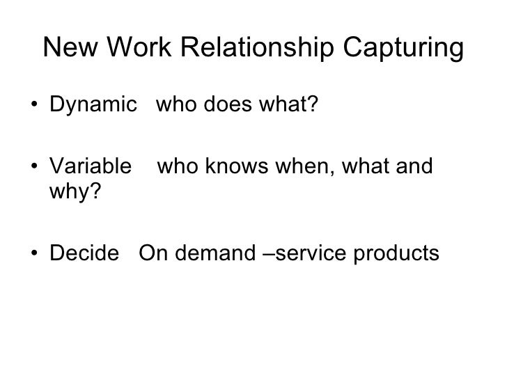 New Work Relationship Capturing <ul><li>Dynamic  who does what? </li></ul><ul><li>Variable  who knows when, what and why? ...