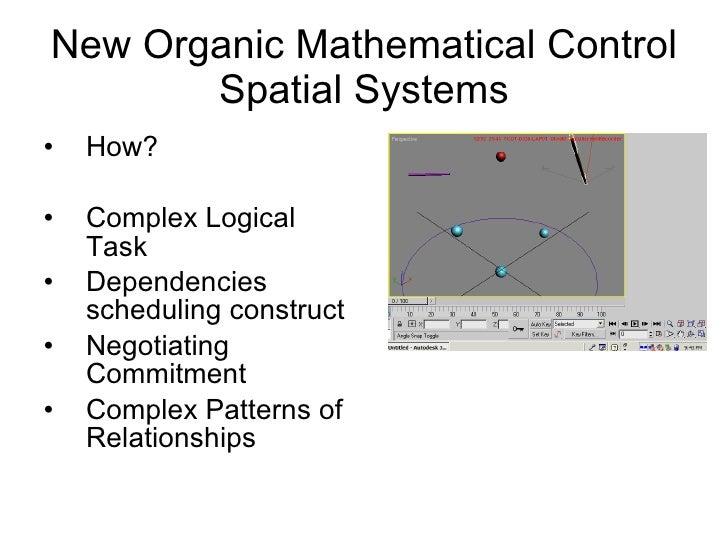 New Organic Mathematical Control Spatial Systems <ul><li>How? </li></ul><ul><li>Complex Logical Task </li></ul><ul><li>Dep...