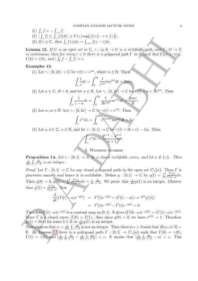 Complex Analysis [Lecture notes]