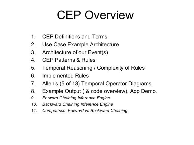 CEP Overview 1. CEP Definitions and Terms 2. Use Case Example Architecture 3. Architecture of our Event(s) 4. CEP Patterns...