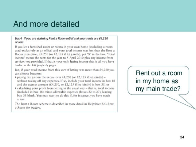 And more detailed 34 Rent out a room in my home as my main trade?