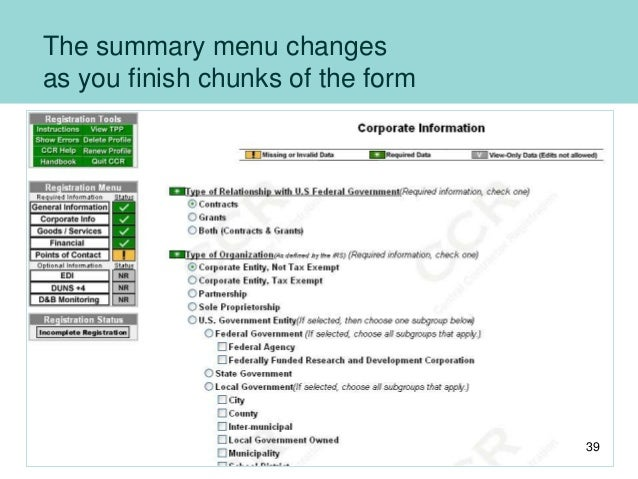 The summary menu changes as you finish chunks of the form 39