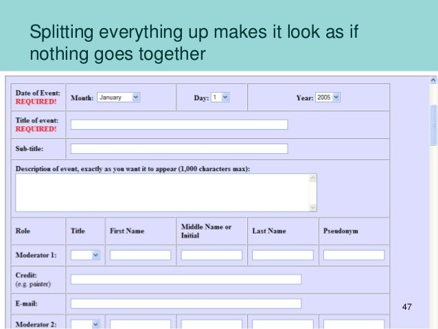 Splitting everything up makes it look as if nothing goes together 47