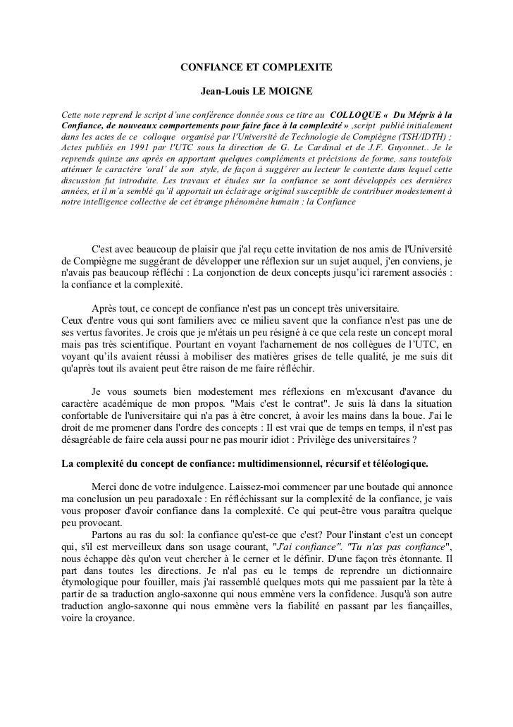 CONFIANCE ET COMPLEXITE                                    Jean-Louis LE MOIGNECette note reprend le script d'une conféren...