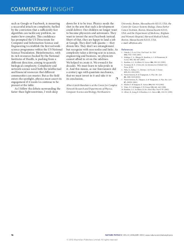 Complexity Número especial da Nature Physics Insight sobre