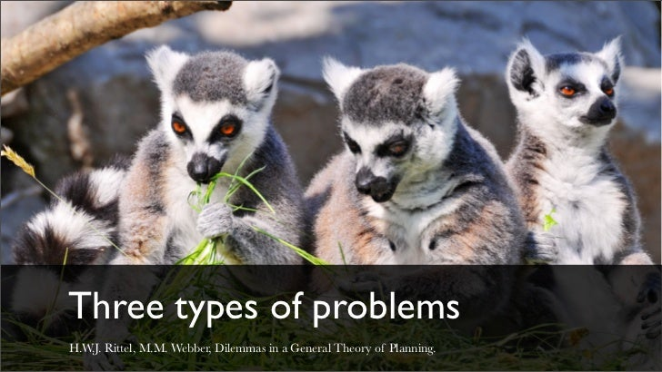 Three types of problemsH.W.J. Rittel, M.M. Webber, Dilemmas in a General Theory of Planning.