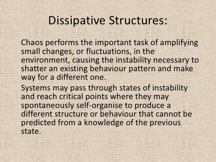 Dissipative Structures:  <br />Chaos performs the important task of amplifying small changes, or fluctuations, in the envi...