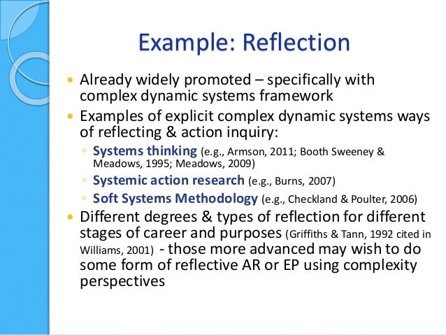 theories of reflection in teaching If you include each of these components in your reflective writing, you will more  clearly see connections between your experiences, learning, and theories.