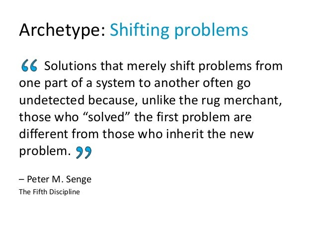 Archetype: Shifting problems Solutions that merely shift problems from one part of a system to another often go undetected...