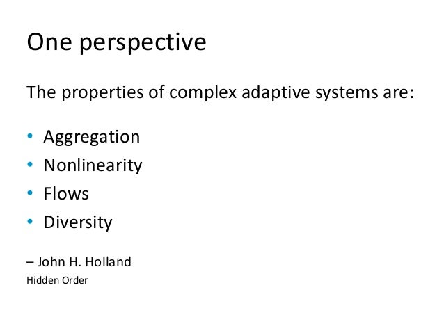 One perspective The properties of complex adaptive systems are: • Aggregation • Nonlinearity • Flows • Diversity – John H....