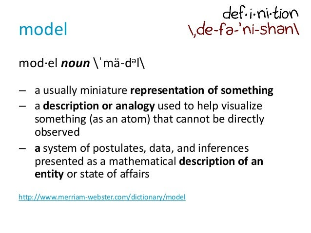 model mod·el noun ˈmä-dəl – a usually miniature representation of something – a description or analogy used to help visual...