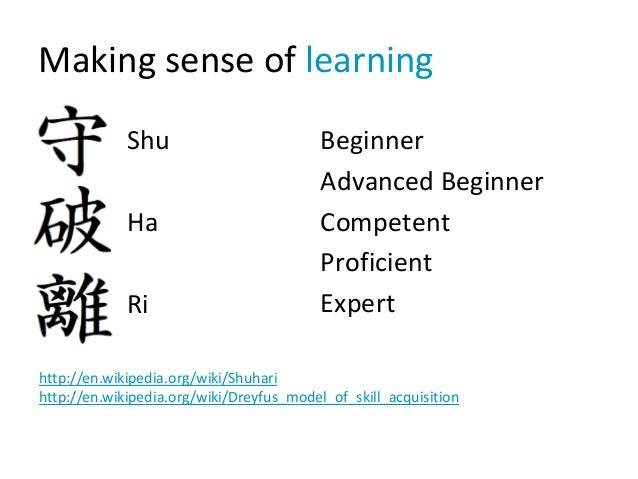 Making sense of learning Shu Ha Ri Beginner Advanced Beginner Competent Proficient Expert http://en.wikipedia.org/wiki/Shu...