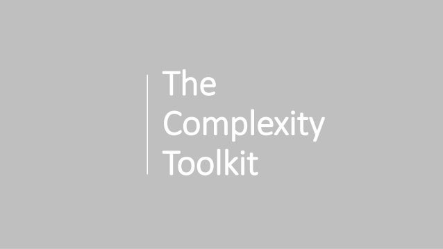 The Complexity Toolkit