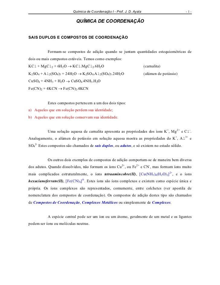 Química de Coordenação I - Prof. J. D. Ayala                          -1-                            QUÍMICA DE COORDENAÇÃ...