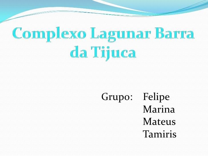 Complexo Lagunar Barra da Tijuca<br />Grupo:    Felipe<br />Marina<br />Mateus<br />Tamiris<br />