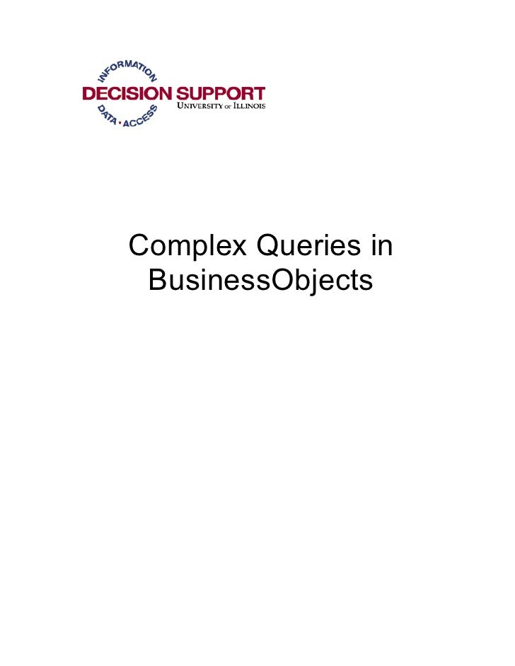 Complex Queries in BusinessObjects