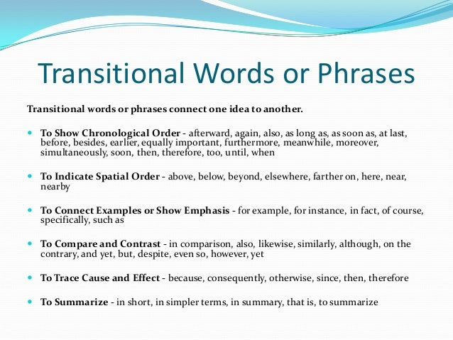 essay writing transitional sentences Transitional words and phrases are very important when writing papers for academia, business or english proficiency exams transitions help the reader to.