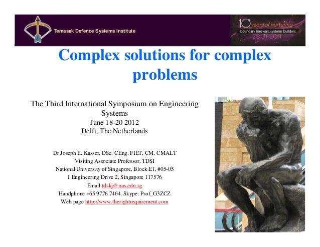 Temasek Defence SystemsInstitute      Temasek Defence Systems Institute         Complex solutions for complex             ...
