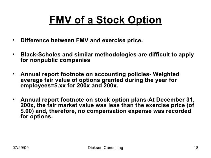 Fmv stock options