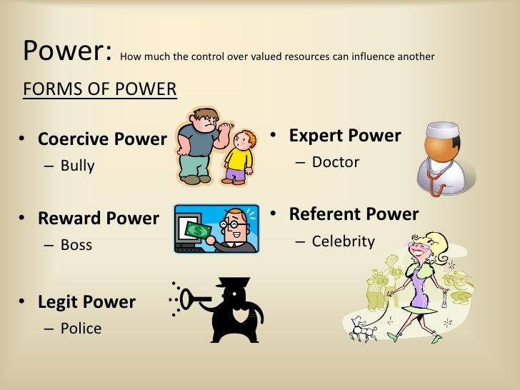 example of referent power Referent power is sometimes referred to as personal power referent (or personal) power is based on the target's attraction to the power holder - liking, perceived similarity, admiration, desire to be close to or friendly with the power holder.