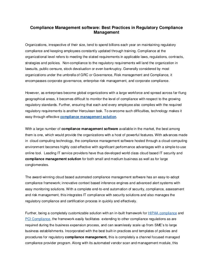 Compliance Management software: Best Practices in Regulatory Compliance                              ManagementOrganizatio...