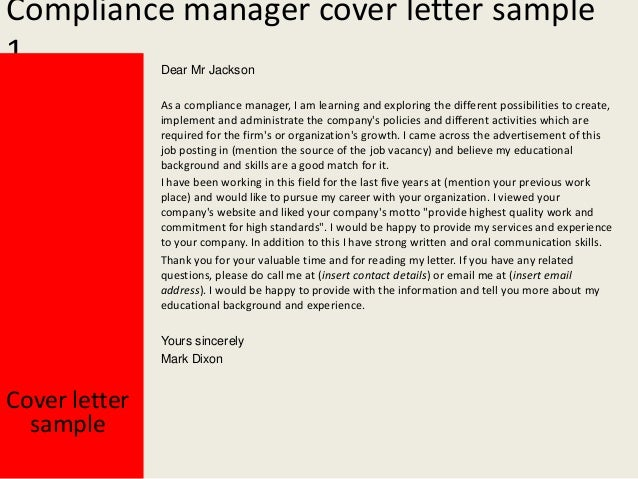 Compliance Manager Cover Letter ...