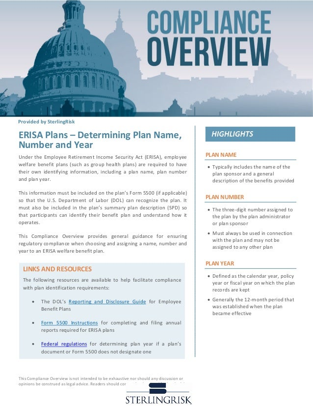 Compliance Overview Erisa Plans Determining Plan Name Number And