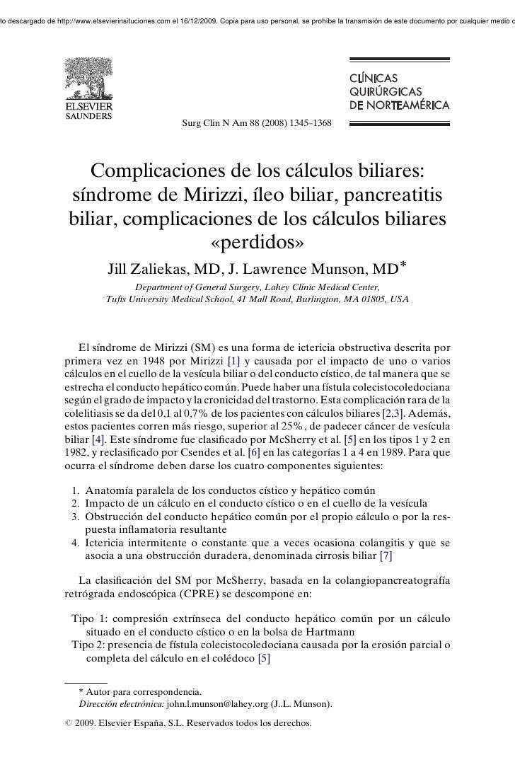 Complicaciones de calculos biliares