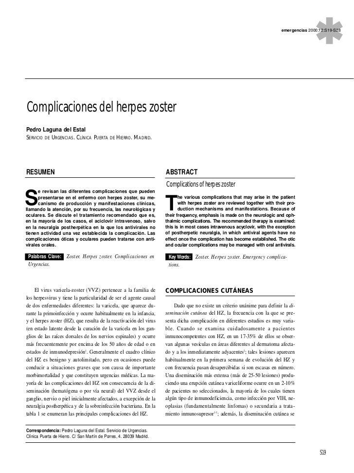 emergencias 2000;12:S19-S28Complicaciones del herpes zosterPedro Laguna del EstalSERVICIO DE URGENCIAS. CLÍNICA PUERTA DE ...