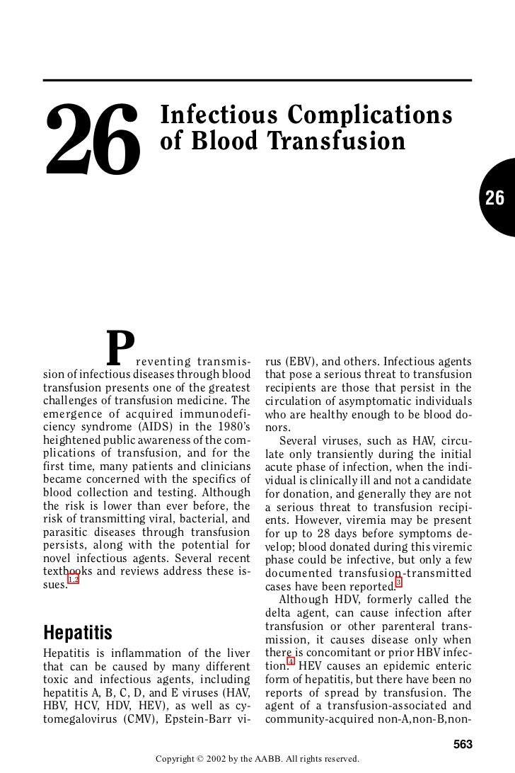 26                       Infectious Complications                       of Blood Transfusion                              ...