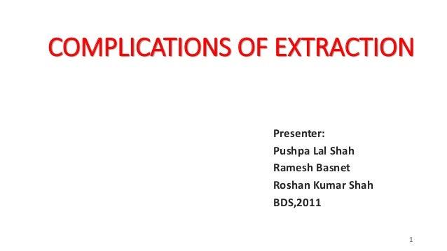 COMPLICATIONS OF EXTRACTION Presenter: Pushpa Lal Shah Ramesh Basnet Roshan Kumar Shah BDS,2011 1