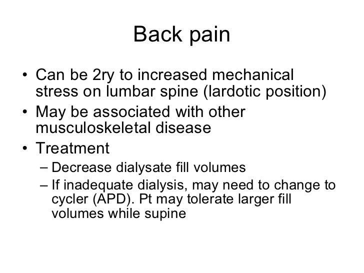 Back pain <ul><li>Can be 2ry to increased mechanical stress on lumbar spine (lardotic position) </li></ul><ul><li>May be a...