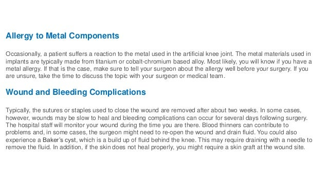 Complications of total knee replacement