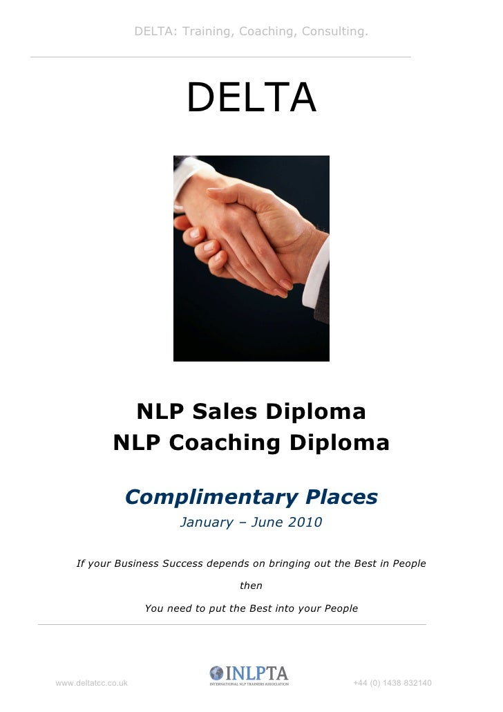 DELTA: Training, Coaching, Consulting.                                  DELTA                    NLP Sales Diploma        ...