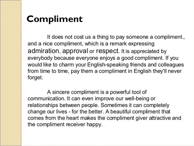 Complimenting and replying to compliments compliment expocarfo